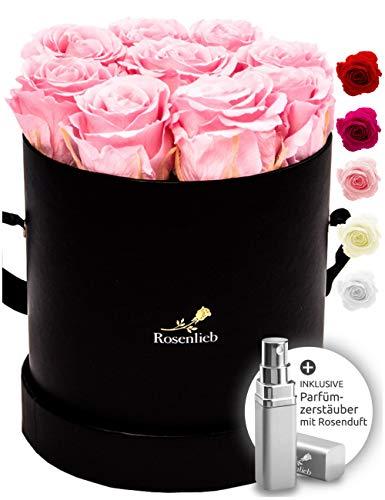 Rosenlieb Rosenbox mit 9 Infinity Rosen (3 Jahre haltbar) | Echte konservierte Blumen | Flowerbox Inkl. Grußkarte| Blumenbox Geschenk Box für Frau Frauen Freundin Weihnachten (Medi Bella Schwarz Rosa)
