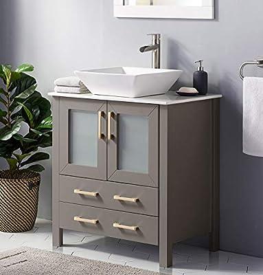 30 Inch Premium Grey Bathroom Vanity Sink Combo,Bath Vanity with Sink Modern Bathroom Vanity Cabinet with Ceramic Sink Top,Single Bathroom Vanity Set with 1 Shelf 2 Drawers