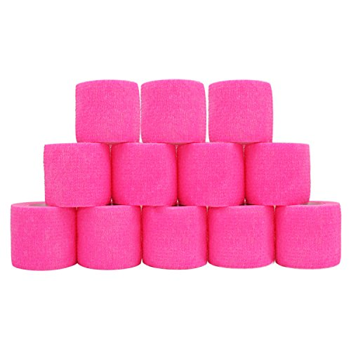 COMOmed Cohesive Bandage Flexible Bandage Self-adhesive Bandage Roll Latex-free Non-woven Cohesive Athletic Tape Alleray tested Suitable for Sensitive Skin 5cm x 4.5m 12 Rolles Pink
