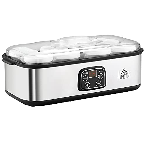 HOMCOM Yogurtera 30W Capacidad 1,44L con 8 Tarros de Cristal de 180 ml Termostato Ajustable Temporizador de 1-48 Horas y Apagado Automático 36x18,8x14 cm Plata