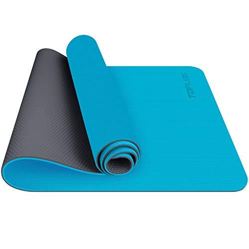 TOPLUS Tapis de Yoga, Tapis Gym - en TPE matériaux Recyclable, Ultra antidérapant et Durable, 183x61x0.6 cm, Non Toxique, Tapis de Sol pour Sport, Fitness (Bleu Clair)