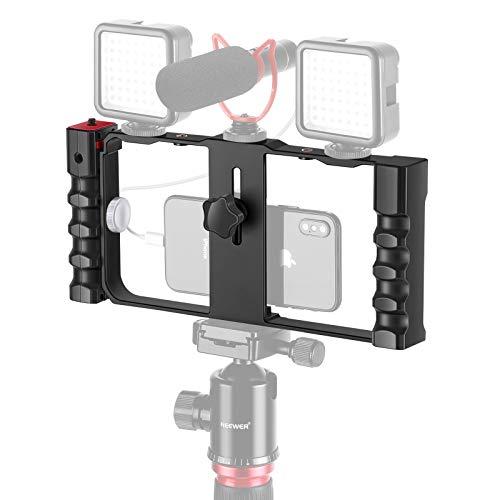 Neewer Handy Video Rig Stabilisator 3 Kaltschuh und Stativhalterung fur Vlogger Videomaker Filmer Kompatibel mit iPhone 11 Pro Max11 Pro11Xs MaxXsXr8 7plusOnePlus 8 7 ProSamsung Kunststoff