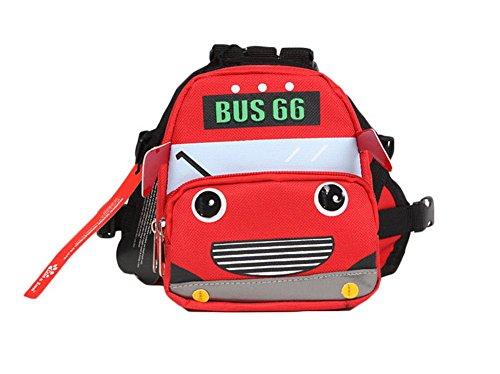 Dessin animé Chien pour animal domestique Chien extérieur Sac à dos de voyage épaules Sac à dos --- Bus Rouge