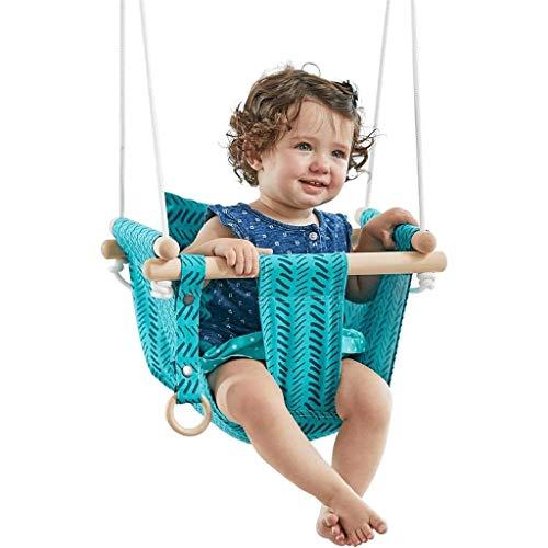 LUGEUK Silla de Colgante de bebé Europeo y Americano para el hogar bebé de algodón de Lona para niños Asiento de Swing de niños para Exteriores Hamaca al Aire Libre Juguete de niño 6 Meses-3 años