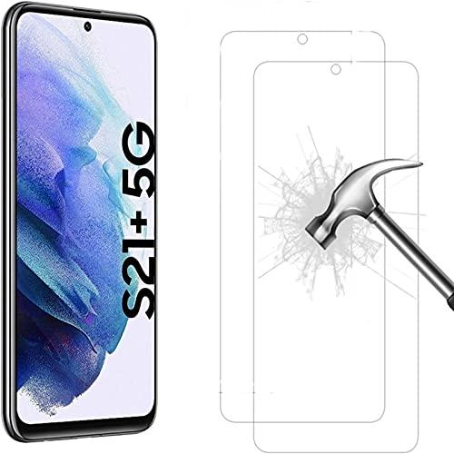 Cracksin [2 unidades] Cristal blindado para Samsung Galaxy S21 + 5G vidrio templado ultra transparente 9H protector de pantalla de vidrio templado 9H Tempered Glass 2X