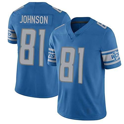 HGYB Lions Team # 81 Fußballtrikot, Herrensport-T-Shirt, American Football Trainingstrikot, Kurze Ärmel, Geschenke, atmungsaktiv, wiederwaschbar (S-3xl)-Blue-M