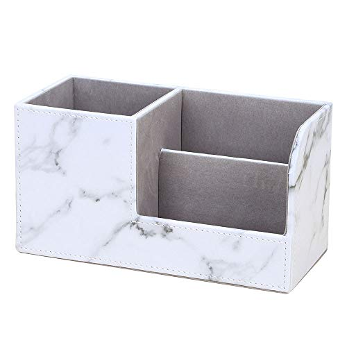 Marble Vein Desktop Organizer, Doraking Non-Slip Middle PU Leather Marble Vein Desktop Storage Box Organizer Pencil Holders (White)