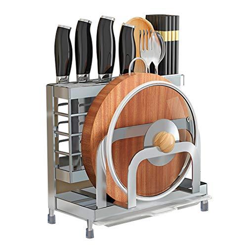 Bloques de cuchillos Bloque De Cuchillos Multifunción Organizador De Soporte De Cuchillo De Cocina Con Soporte De Tapa De Olla De Jaula De Cubiertos Y Estante De Tabla De Cortar ( Color : Silver )