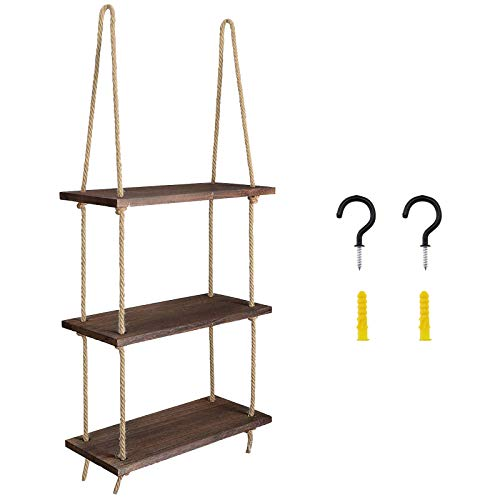 Yinettech - Estantería colgante de madera flotante con cuerda de yute y tableros de 3 capas para colgar objetos de colección de fotos
