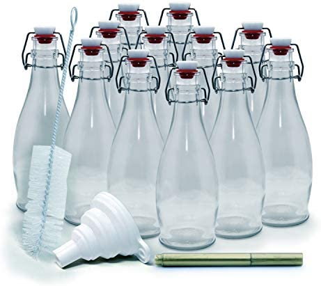 mockins Set of 12 8 5 Oz Glass Bottle Set with Swing Top Stoppers and Includes Bottle Brush product image