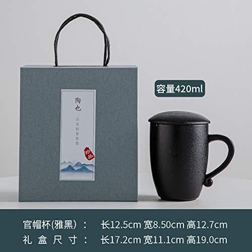 Heliansheng Taza de café de Moda Taza de Marca de cerámica con Malla de Filtro con Tapa Taza de té de separación de Agua de té -D291-301-400ml-G1046