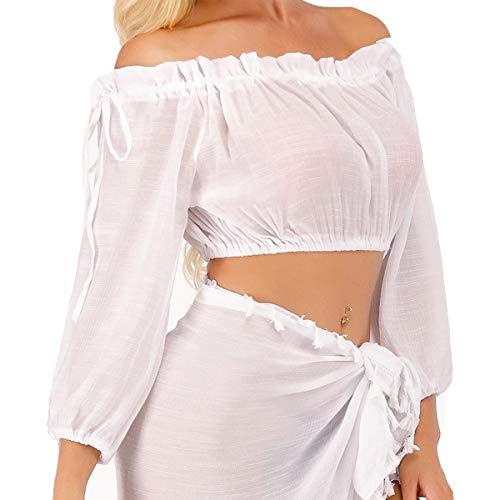 Mujer Pareos Verano Mini Blusa con Mangas Largas Crop Tops Sexy Cubrir Bikini Traje de Baño Cubierto Beach Cover Up Ropa de Playa Novias (Blanco, Tamaño Libre)