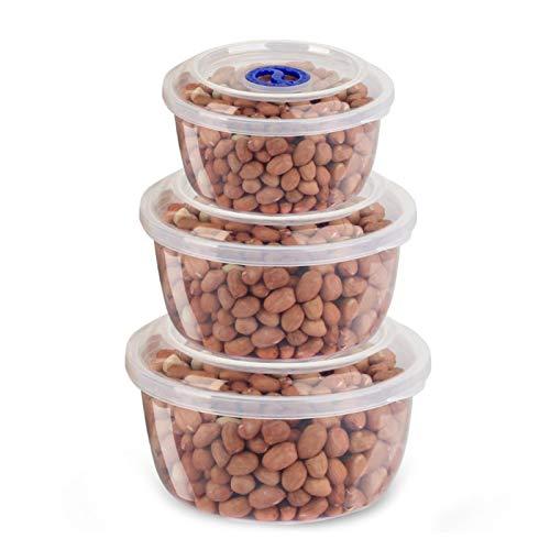 WSYW Cajas organizadoras de almacenamiento de alimentos Set de 3 cajas selladas para refrigerador, lavavajillas, congelador, contenedores de almacenamiento de mantenimiento fresco