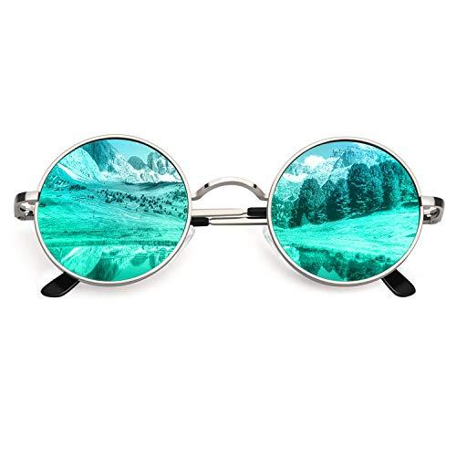 CGID Kleine Retro Vintage Sonnenbrille, inspiriert von John Lennon, polarisiert mit rundem Metallrahmen, für Frauen und Männer Silber Grün E01