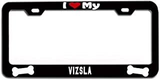 LOHIGHH I Heart My Vizsla License Plate Frame Black Metal Cute Doggy Dogs Puppy 12
