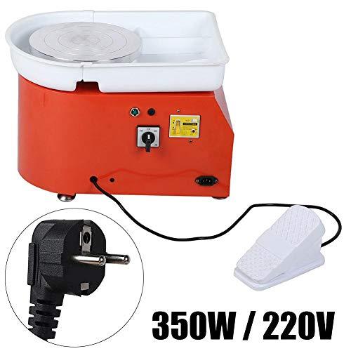 Elektrische aardewerk wielmachine, Elektrische aardewerk wiel keramische machine Pedaalgestuurde verwijderbare kom Keramische kunstgereedschap(350W EU-stekker oranje)