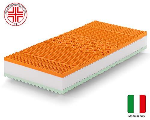 Marcapiuma - Colchón viscoelástico Individual Memory Bio 90x190 Alto 22 cm - Rainbow Plus - H3 Firme 5 Zonas Producto Sanitario CE Funda desenfundable Silver Antiácaros 100% Fabricado en Italia