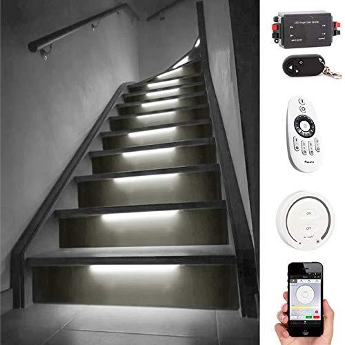 LED Treppenstufenbeleuchtung mit Bewegungsmelder  Hellweiß/Neutralweißes Licht 4000K   Komplettset für 14 Stufen   kabellose Touch Wandpaneel Bedienung 4-Zonen + WLAN
