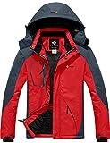 GEMYSE Giacca da Sci da Montagna Impermeabile da Uomo in Pile Antivento Cappotto Invernale all'aperto con Cappuccio (Rosso Grigio,XL)