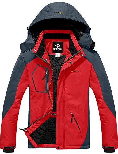 GEMYSE wasserdichte Skijacke für Herren Winddichte Fleece Outdoor-Winterjacke mit Kapuze (Rotgrau,L)