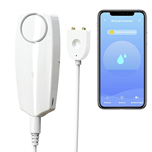 GMAXT Water Leak Detector,100 dB Volume,TUYA Smart APP WiFi Water Sensor Alarms,Water Monitor Alarm with Rechargeable,Remote Monitor Leak Ideal for Home Security Basement,Washer,Bath Cellar