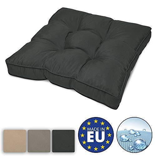Beautissu Coussin Lounge - pour Assise - pour extérieur - Résistant à l'Eau - Gris Graphite - 60x60x10 cm - Idéal pour Jardin, Balcon