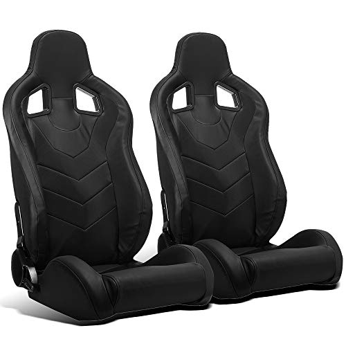 ModifyStreet 1 Pair Universal Black PVC Leather Reclinable Racing Bucket Seats