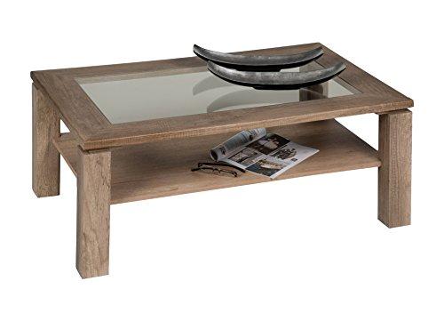 Alfa-Tische m2446 Table Basse Lugano, 110 x 70 cm avec klarglaseinlage, décor chêne