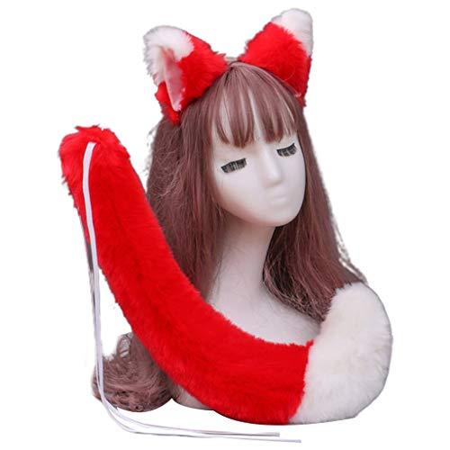 GREEN&RARE Juego de diadema de pelo sinttico de anime japons con orejas de lobo y cola de pelo, color de contraste, accesorios de disfraz para Navidad, Halloween, fiestas, etc