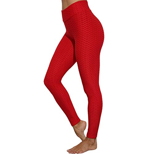 SotRong Damen Gym Leggings Hohe Taille Yogahose Booty Scrunch Bauch Kontrolle Workout Kompression Sport Trainingshose Rot M