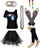 Women's I Love The 80's T-Shirt 80s Outfit Accessories(S/M,Black)