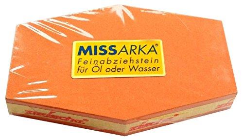 Missarka Abziehstein von Zische, Sechskantform, FEPA Körnung 1000 (JIS 3000), 120 x 80/50 x 18 mm, Schleifstein