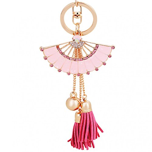 Steellwingsf Moda brillante Rhinestone abanico en forma de borla colgante esmalte llavero (rosa)