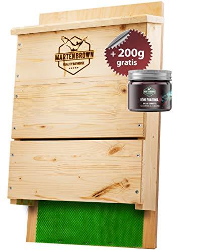 Martenbrown® Großer Premium Fledermauskasten für bis zu 300 Fledermäuse I Fledermaus Nistkasten aus Fichtenholz für Fledermäuse I Montagefertiges Fledermaus Haus + 200g Lockmittel