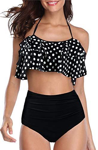 Sixyotie Damen Bikini Sets Hoch taillierte Halter Vintage Badeanzug Plus Größe Push Up Zweiteilige Bademode Strandkleidung (M, Whitedot)