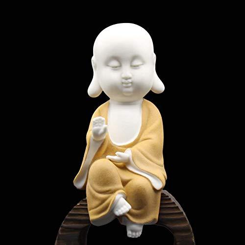 Carefree Fish Whtie Ceramic Buddha Statue Meditation Monk Figurine Zen Decoration Buda Tabletop Decoration