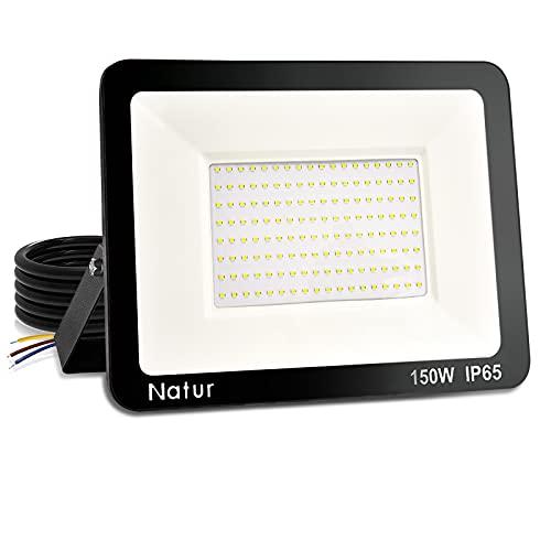 Foco Proyector LED 150W Exterior, 15000lm Foco LED Impermeable IP65 Luz de Seguridad, Superbrillante Blanca Fría Exterior Iluminación Decoración para Jardín Garaje Estadio Patio Trasero Taller