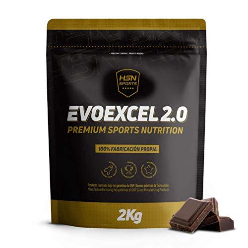 Whey Protein Isolate + Whey Protein Concentrate de HSN Evoexcel 2.0 | Batido de Proteínas para Ganar Masa Muscular, Recuperar, Perder Grasa | Vegetariano, Sabor Chocolate, 2Kg