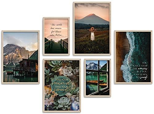 ARTFAVES® Poster Set - Beautiful Earth | Wanddeko Wohnzimmer & Schlafzimmer | 8 Moderne Wandbilder | Bilder Natur, Berge, See, Landschaft, Dolomiten, Boot, Boho, Pampasgras |...