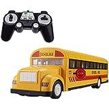 GRTVF RC ANCHO ESCUELA Autobús eléctrico Control remoto Autobús Niños 2.4G Camión de carga con sonido y luz One Llavero Puerta de apertura de la puerta MEJOR JUGUETES DE NIÑOS Modelo de coche de jugue