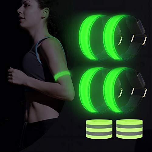AivaToba Led Armband Joggen, 6 Stück Leuchtband Reflektorband, Reflective Leucht Armbänder Lichtband Lauflicht Licht Reflektoren Kinder Reflektor für Laufen Joggen Radfahren Hundewandern Running