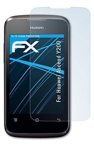 atFoliX Displayschutzfolie für Huawei Ascend Y200 (3 Stück) - FX-Clear: Displayschutz Folie kristallklar! Höchste Qualität - Made in Germany!