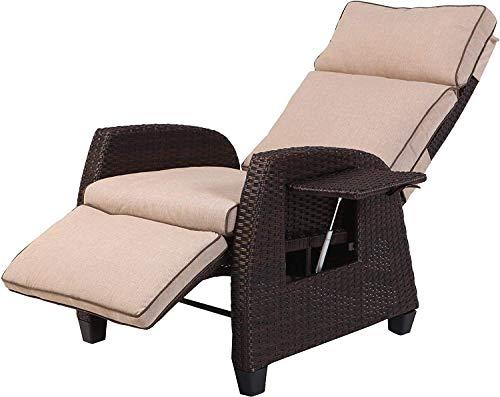 FMXYMC Mesa Lateral Interior y Exterior reclinable Silla Ajustable Integrado con Mimbre para Cualquier estación de la Fiesta de jardín Piscina Courtyard