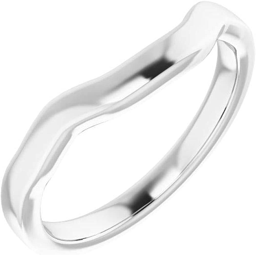 Solid 10K White Gold SEAL limited product Curved Notched Wedding Ass Safety and trust Band x 7 for 7mm
