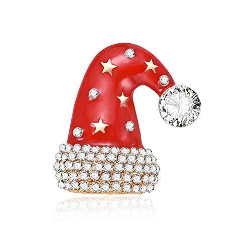 PULABO Elegante Weihnachtsbaum kristall brosche weihnachtsmann Hut brosche pins emaille brosche Kragen schal schal Clip Kleidung schmuck Geschenk tragbar und nützlichzuverlässig