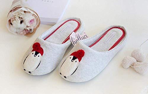 CDNS Zapatillas de mujer Casual Home, zapatillas de algodón de pingüino tridimensionales lindas Zapatillas de interior suaves y ligeras Ropa suelta Damas Algodón Sli Winter House Shoes Suela
