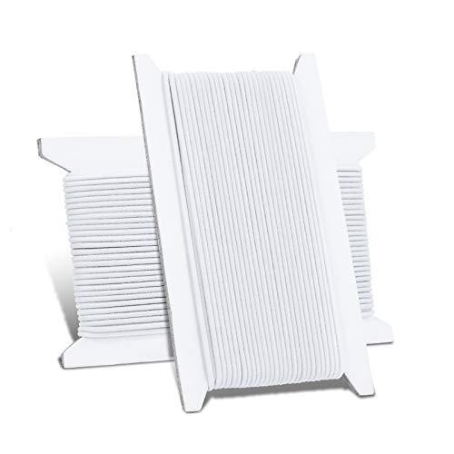 KATELUO 1.5MM 10M Gummiband Weiß, Hochwertiges Elastisches Gummiband, Elastische Schnur, Gummikordel Nähen Rund für Nähen, DIY, Handwerk