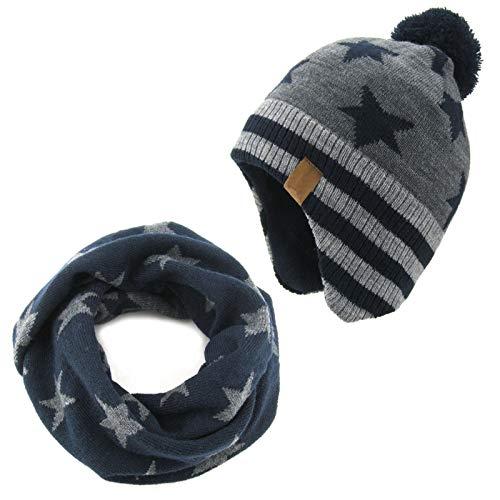 Kinder Baby Stricke Mütze Schal Set Weich Warm Schützend Velvet Gefüttert Baby Wintermütze für Kinder von 1-8 Jahre