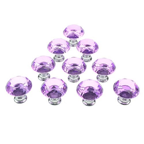 Dxhycc 10pcs Purple 30mm Flat Round Crystal Glass Cabinet Knobs Cupboard Drawer Pull Handles
