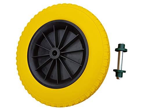 Frosal Schubkarrenrad 400 mm pannensicher mit Achse   PU Rad Luftrad Schubkarre   Ersatzrad 4.80/4.00-8 Kunststoff-Felge schwarz   Reifen 75 mm Breite